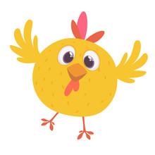 Funny Cartoon Chicken Flying. Vector Illustration