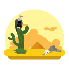 Vulture In The Cactus Desert A...