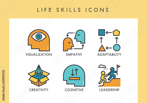 Valokuvatapetti LIfe skills icons