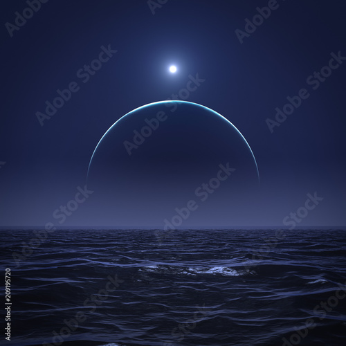 the moon and the sun over the ocean Poster