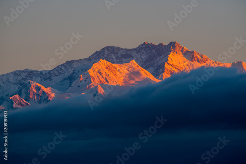 Poster Volcano Dramatic landscape Kangchenjunga mountain with colorful from sunlight at Sandakphu