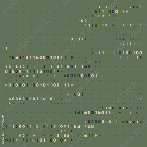 Streaming abstract binary code background with padlock  Data