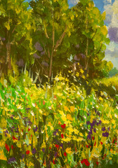 FototapetaAbstract close-up floral summer field of chamomiles, poppies. Fragment of painting