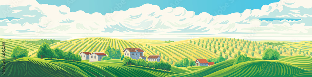 Fototapeta Rural panoramic landscape with a village and hills with gardens and fruit trees