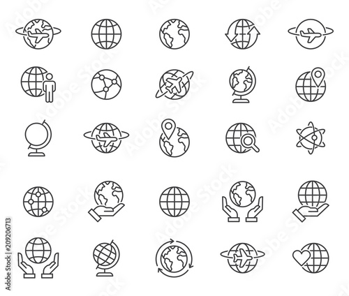 Fotografia  Outline world globes icons set