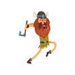 Furious viking attacking with axe, medieval cartoon character vector Illustration