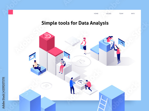 People interacting with charts and analysing statistics and data. Landing page template. 3d isometric illustration.