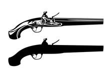 Vintage Flintlock Pistol Black...