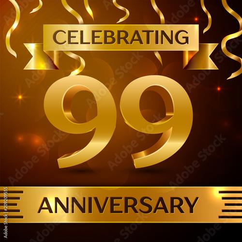 Realistic Ninety nine Years Anniversary Celebration Design Poster