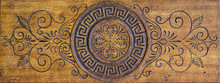 Old Worn Wooden Carved Decorative Panel, May Be Used As Background