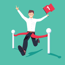 Businessman Holding Number One Flag Running And Crossing Finish Line In First Place. Business Success Concept.