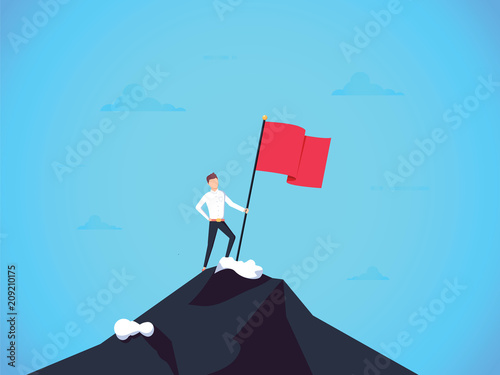 Photo  Business leader vector concept with businessman planting flag on top of mountain