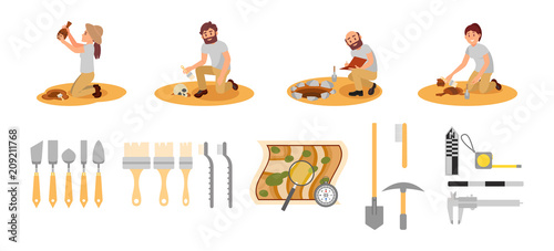 Flat vector set of archaeologists and tools Canvas Print