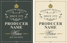 Set Of Two Vector Wine Labels ...