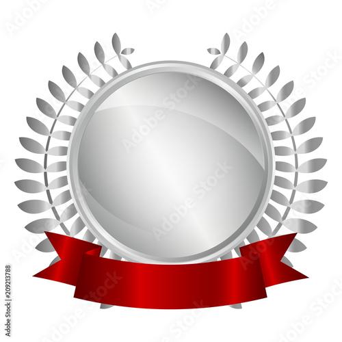 Fotografía  Medaille mit Lorbeeren und Banner - silber 3D