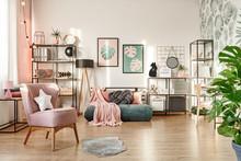 Pink Armchair In Cozy Bedroom