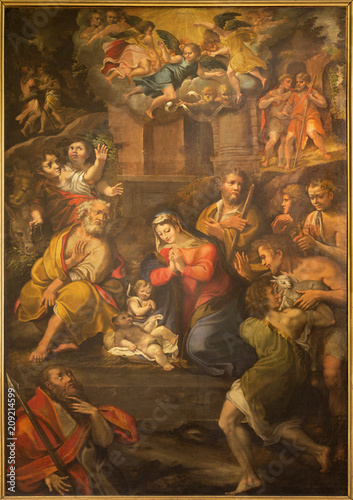 PARMA, ITALY - APRIL 17, 2018: The painting of Nativity in church Chiesa di Santo Tomaso by Girolamo Bedoli (1500 - 1569).