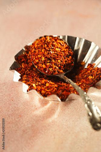 Fotobehang Aromatische Calabrian Chilli Pepper flakes or Little Devil