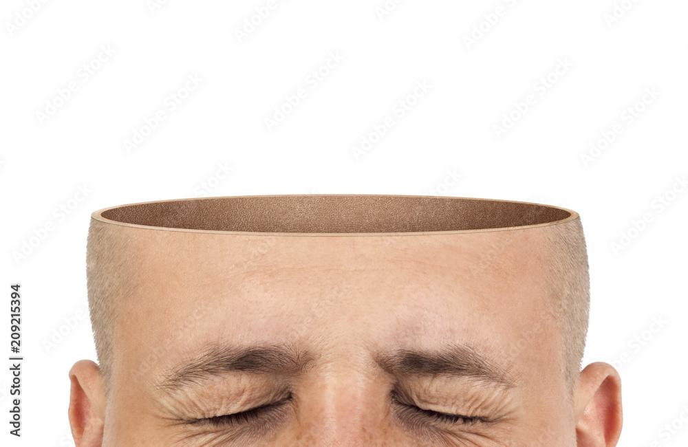 Fototapeta A cut of an empty head on a white background