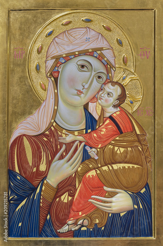 BOLOGNA, ITALY - APRIL 18, 2018: The icon of Madonna in church Chiesa di San Pietro by st. Maddalena Malaguti.