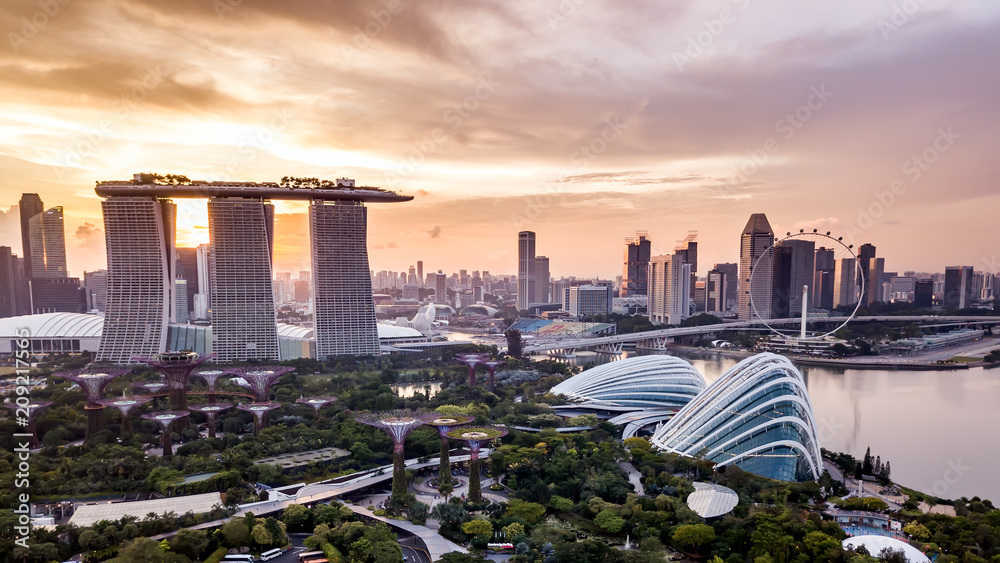 Fototapety, obrazy: Aerial drone view of Singapore city skyline at sunset