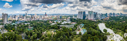Photo  Aerial drone panoramic view of the Malaysian capital Kuala Lumpr skyline