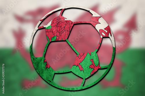 Soccer ball national Welsh flag. Welsh football ball. Poster