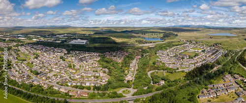 Valokuva  Panoramic aerial drone view of the town of Ebbw Vale in the South Wales Valleys