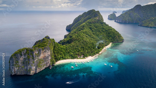 Poster Helicopter Aerial drone view of Dilumacad (Helicopter) Island in El Nido, Palawan, Philippines
