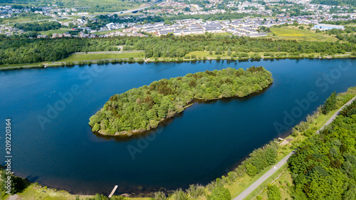 Foto op Aluminium Rivier Aerial view of Bryn Bach park and lake in Tredegar, South Wales