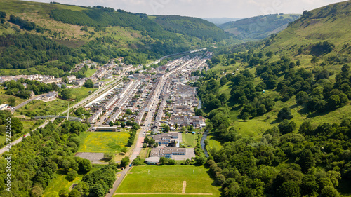 Valokuva  Aerial view of th village of Cwm in Ebbw Vale, South Wales