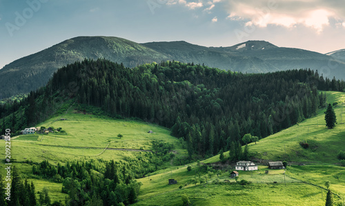 Scenic mountain landscape, summer green meadow Canvas Print