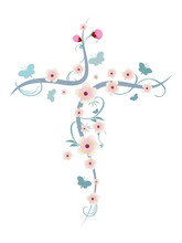 Isolated Christian Cross With Flower And Butterflies