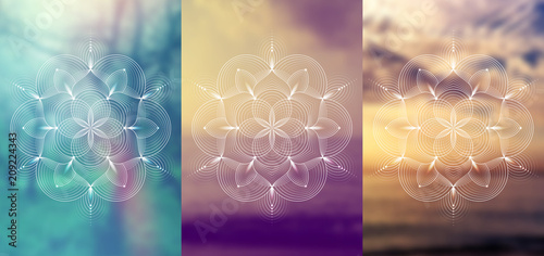 """Fotografie, Obraz  Set of three template for card or poster, vertical format; Spiritual abstract sacred geometry on wonderful blurred background; """"Flower of life"""" and lotus; Yoga, meditation and relax"""