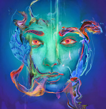 Illustration Of Blue And Green Face With Multicolored Swirls