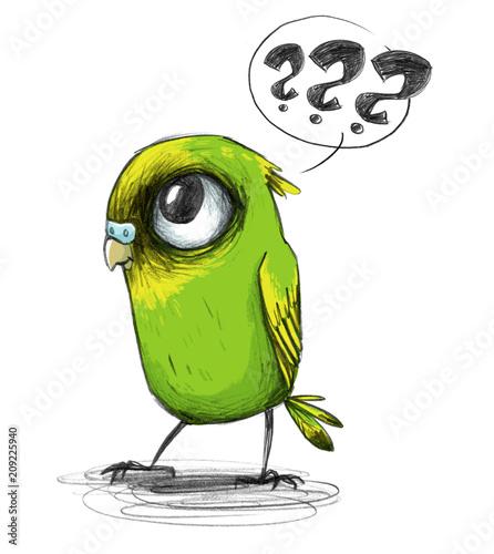 zielona-papuzka-na-bialym-tle-ilustracja