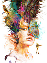 Beautiful Female Portrait Looking With Headdress And Mask