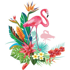 Fototapeta Egzotyczne Tropical decoration with Flamingoes and Trop