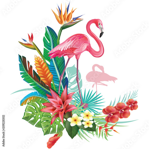 Fotografie, Obraz Tropical decoration with Flamingoes and Trop