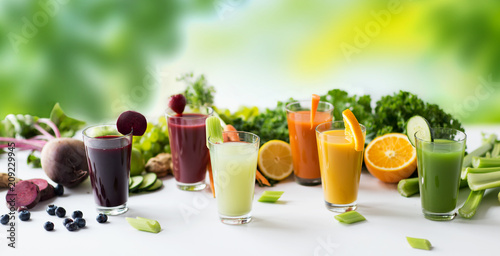 Staande foto Sap healthy eating, drinks, diet and detox concept - glasses with different fruit or vegetable juices and food on table over green natural background