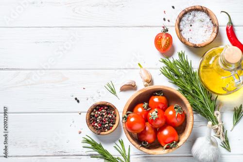 Fotobehang Aromatische Food background on white wooden table.