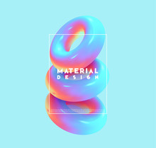 Minimal Abstract Art With Geometric Shapes, Stylish Background With 3d Elements Torus. Fashion Poster, Banner, Design Card Vector Illustration