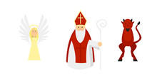 Isolated Characters According To The European Tradition: Saint Nicholas With Angel And Devil..