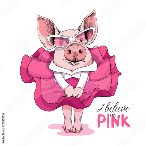 Photo  Pig in a pink dress and in a sunglasses posing like a Superstar