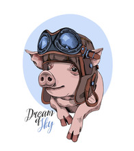 Funny Pig In A Retro Leather A...