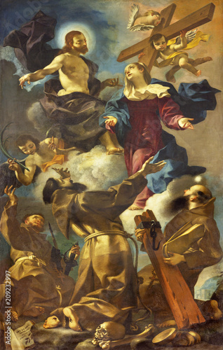 REGGIO EMILIA, ITALY - APRIL 12, 2018: The painting of Apotheosis of the Franciscan (Francis, Anthony) saints in church Chiesa dei Cappuchini by Giuseppe Barnaba Solieri (1749).