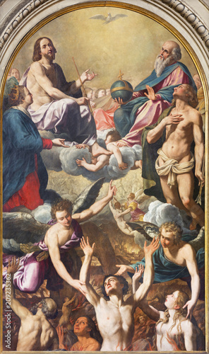 Photo MODENA, ITALY - APRIL 14, 2018: The painting of the holy Trinity, Virgin Mary, St