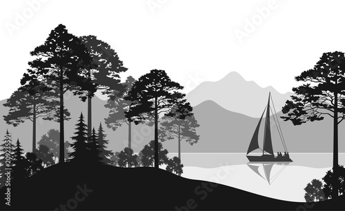 Spoed Foto op Canvas Grijze traf. Landscape with Sailboat on a Mountain Lake, Fir Trees, Pines and Bushes, Black and Grey Silhouettes. Vector