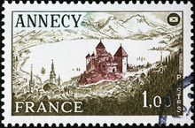 Annecy Castle On Vintage Frenc...