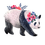 Watercolor panda with flowers isolated on a white background. Watercolor illustration. - 209236740